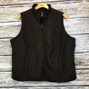 CJ Banks Brown Quilted zip up Vest 2X